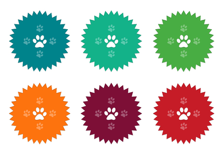 footmark: Photo - Set of colorful stickers icons with pet footprints and veterinary symbol in blue, green, orange, red and burgundy colors Stock Photo
