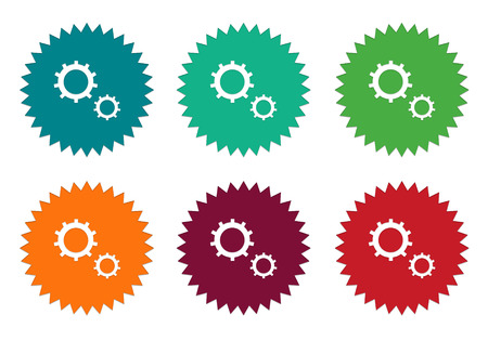 effectiveness: Set of colorful stickers icons with gears symbol in blue, green, orange, red and burgundy colors