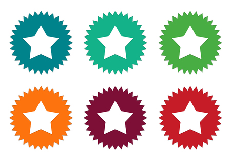 burgundy: Set of colorful stickers icons with star symbol in blue, green, orange, red and burgundy colors