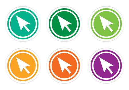 Set of rounded colorful icons with arrow symbol in green, yellow, orange and purple colors Stock Photo