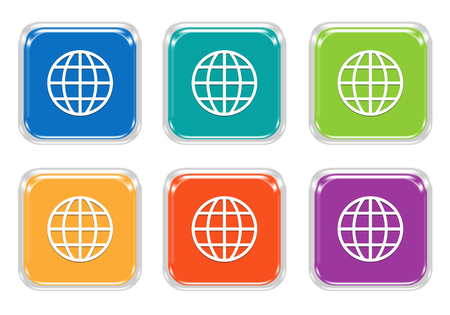 domain: Set of squared colorful buttons with world symbol in blue, green, yellow, orange and purple colors