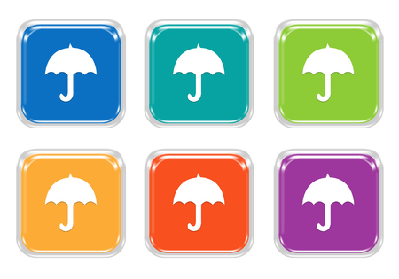 brolly: Set of squared colorful buttons with umbrella symbol in blue, green, yellow, orange and purple colors Stock Photo