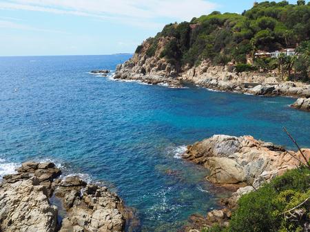 Landscape of Cala Banys beach in Lloret de Mar, Costa Brava, Girona - Spain Stock Photo