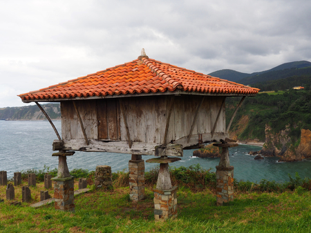View of a horreo, typical rural construction, in Cadavedo, Asturias - Spain