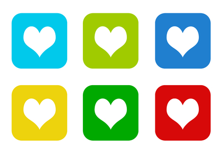 Set of rounded square colorful flat icons with heart symbol in blue, green, yellow, cyan and red colors