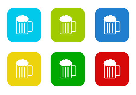 Set of rounded square colorful flat icons with beer symbol in blue, green, yellow, cyan and red colors