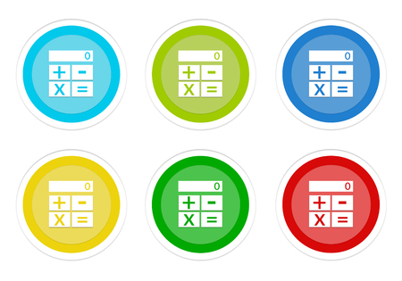 Set of rounded colorful buttons with calculator symbol in blue, green, yellow, cyan and red colors