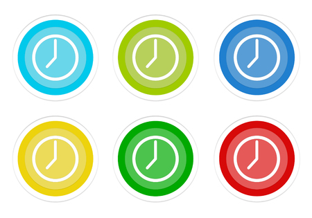 Set of rounded colorful buttons with clock symbol in blue, green, yellow, cyan and red colors