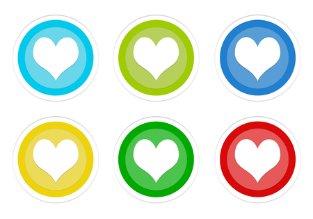 Set of rounded colorful buttons with heart symbol in blue, green, yellow and red colors
