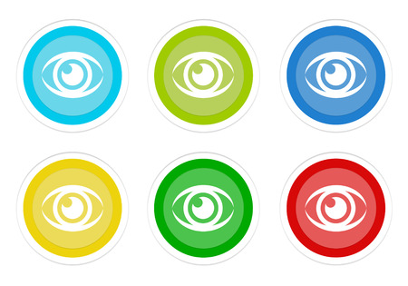 Set of rounded colorful buttons with eye symbol in blue, green, yellow, cyan and red colors Stock Photo