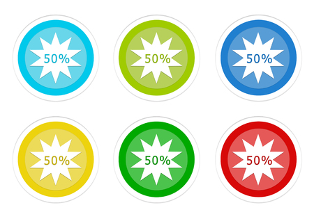 Set of rounded colorful buttons with discount symbol in blue, green, yellow, cyan and red colors