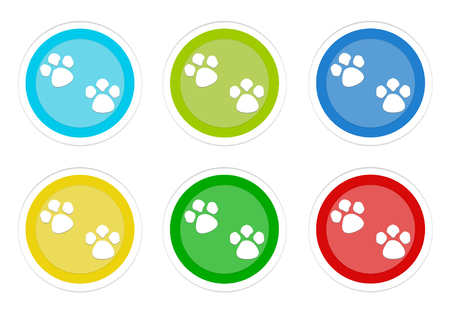 Set of rounded colorful buttons with pet footprints symbol in blue, green, yellow, cyan and red colors