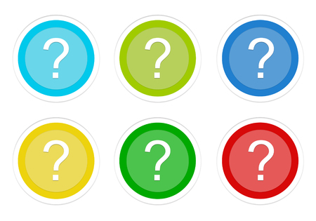 Set of rounded colorful buttons with question mark symbol in blue, green, yellow, cyan and red colors Stock Photo