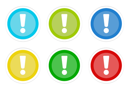 Set of rounded colorful buttons with exclamation mark symbol in blue, green, yellow, cyan and red colors