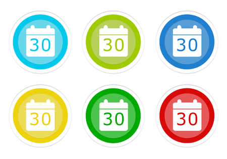 Set of rounded colorful buttons with calendar symbol in blue, green, yellow, cyan and red colors Stock Photo