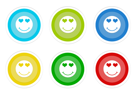 Set of rounded colorful buttons with happy and love face symbol in blue, green, yellow, cyan and red colors Stock Photo