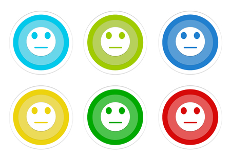 Set of rounded colorful buttons with neutral face symbol in blue, green, yellow, cyan and red colors Stock Photo