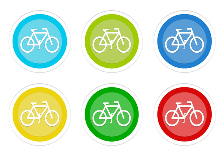 Set of rounded colorful buttons with bicycle symbol in blue, green, yellow, cyan and orange colors