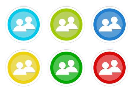 Set of rounded colorful buttons with people symbol in blue, green, yellow, cyan and red colors Stock Photo