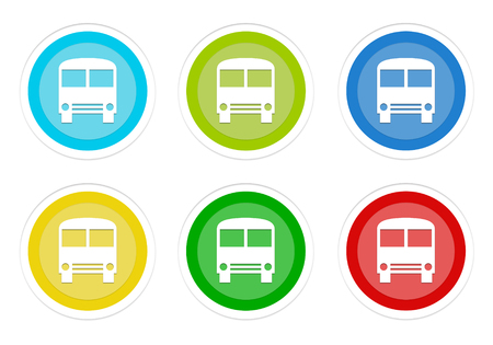 Set of rounded colorful buttons with bus symbol in blue, green, yellow, cyan and red colors Stock Photo