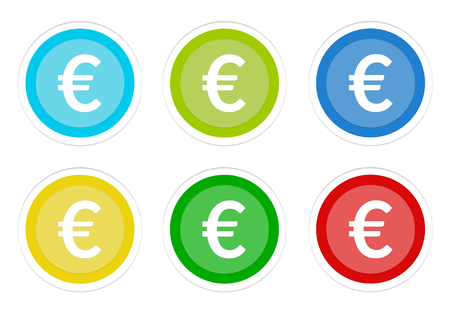 Set of rounded colorful buttons with euro symbol in blue, green, yellow, cyan and red colors