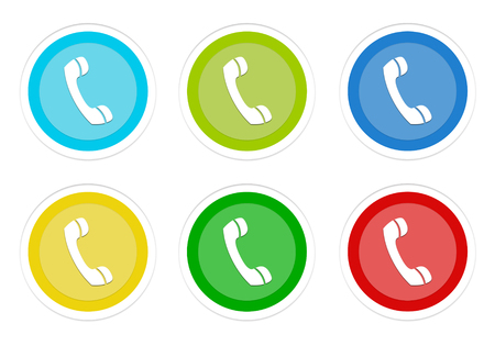 Set of rounded colorful buttons with phone symbol in blue, green, yellow, cyan and red colors