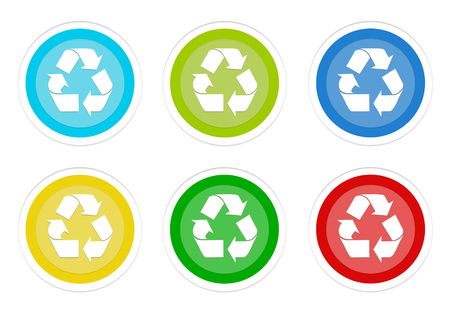 Set of rounded colorful buttons with recycle symbol in blue, green, yellow, cyan and red colors