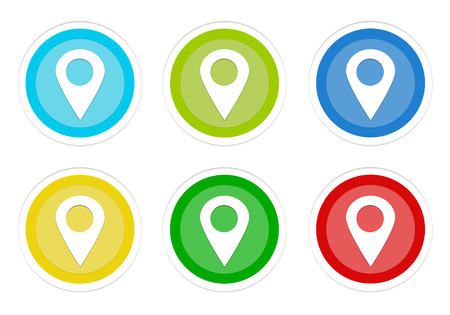Set of rounded colorful buttons with markers on maps in blue, green, yellow, cyan and red colors