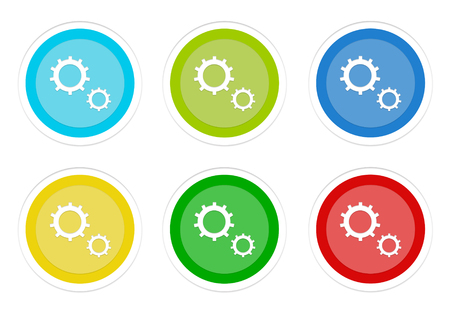 Set of rounded colorful buttons with gears symbol in blue, green, yellow, cyan and red colors