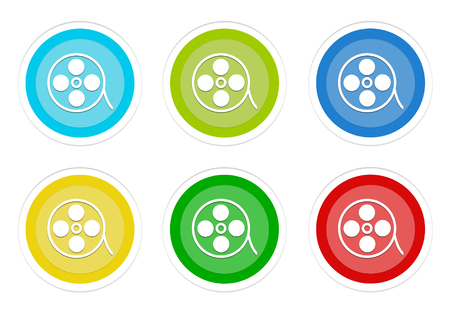 Set of rounded colorful buttons with movie symbol in blue, green, yellow, cyan and red colors Stock Photo