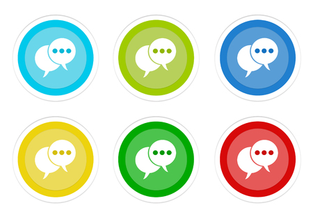 Set of rounded colorful buttons with bubble speeches symbol in blue, green, yellow, cyan and red colors