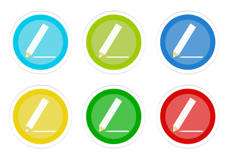 Set of rounded colorful buttons with pencil symbol in blue, green, yellow, cyan and red colors
