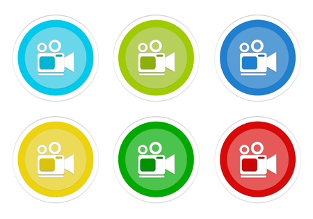 Set of rounded colorful buttons with movie camcorder symbol in blue, green, yellow, cyan and red colors