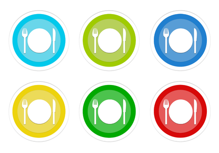 Set of rounded colorful buttons with restaurant symbol in blue, green, yellow, cyan and red colors