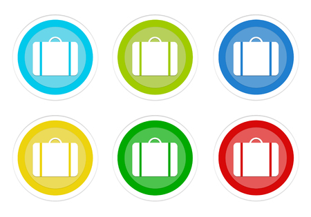 Set of rounded colorful buttons with luggage symbol in blue, green, yellow, cyan and red colors