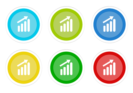 Set of rounded colorful buttons with success symbol in blue, green, yellow, cyan and red colors