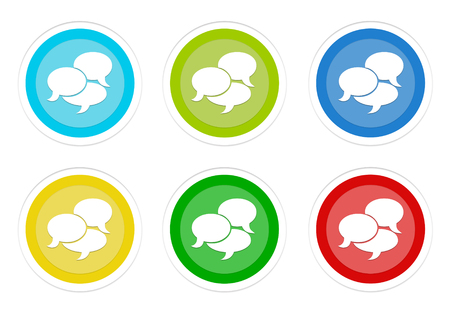 Set of rounded colorful buttons with conversation symbol in blue, green, yellow, cyan and red colors