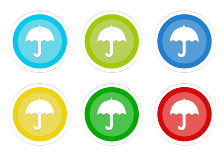 Set of rounded colorful buttons with umbrella symbol in blue, green, yellow, cyan and red colors