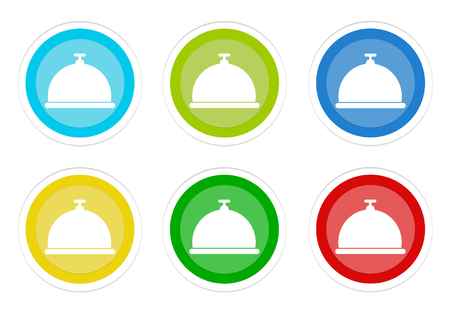 Set of rounded colorful buttons with hotel and restaurant symbol in blue, green, yellow, cyan and red colors