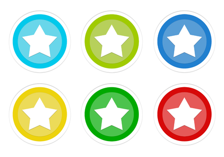 Set of rounded colorful buttons with star symbol in blue, green, yellow, cyan and red colors