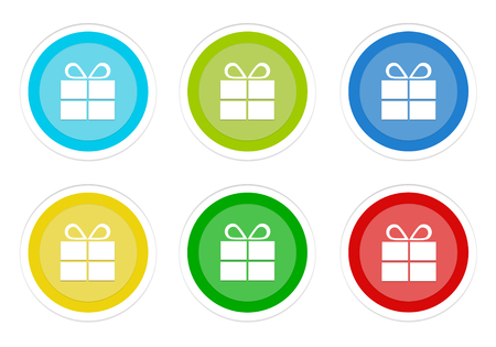 Set of rounded colorful buttons with gift symbol in blue, green, yellow, cyan and red colors Imagens