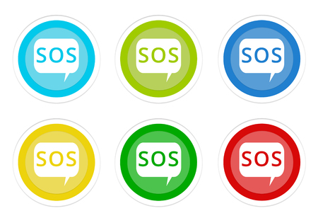 Set of rounded colorful buttons with SOS symbol in blue, green, yellow, cyan and red colors