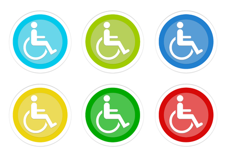 Set of rounded colorful buttons with handicapped symbol in blue, green, yellow, cyan and red colors Stock Photo
