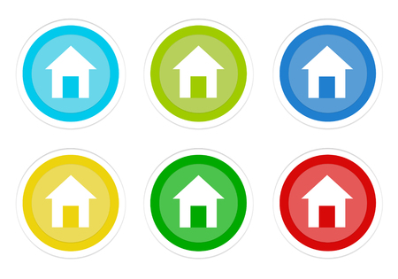 Set of rounded colorful buttons with house symbol in blue, green, yellow, cyan and red colors