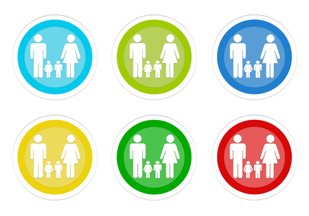 Set of rounded colorful buttons with family symbol in blue, green, yellow, cyan and red colors
