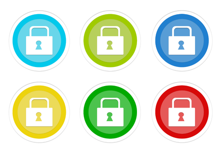 Set of rounded colorful buttons with lock symbol in blue, green, yellow, cyan and red colors