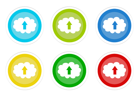 Set of rounded colorful buttons with cloud and upload symbol in blue, green, yellow, cyan and red colors