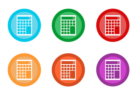 Set of rounded colorful buttons with calculator symbol in blue, green, red, yellow, pink and orange colors