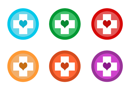 Set of rounded colorful buttons with medical symbol in blue, green, yellow, red, purple and orange colors