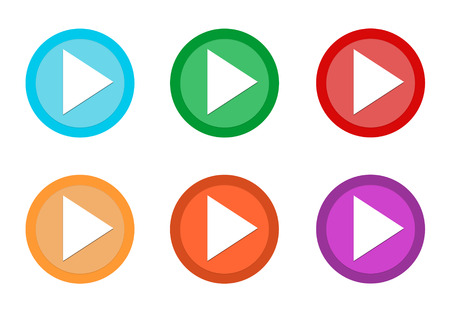 Set of rounded colorful buttons with play symbol in blue, green, red, yellow, pink and orange colors Stock Photo